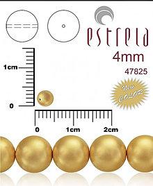 Korálky - Voskované perly zn.Estrela (47825 - matná zlatá) 4mm, bal.31ks - 5074729_