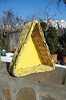Dekorácie - Nádoba z papiera, žltý trojuholník - 5073808_