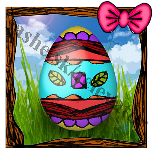 Veľkonočná pohľadnica - veľkonočné vajíčko v tráve 4