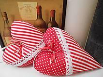 Dekorácie - srdiečko s vonou levandule červeno-biela kombinácia - 5078702_