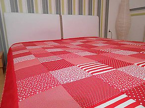 Úžitkový textil - prehoz na posteľ - patchork deka veľká 220x220cm červená - 5078675_