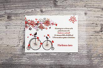 Papiernictvo - Svadobné oznámenie Retro bicyklík - 5076120_