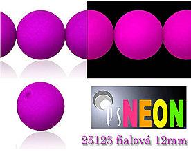 Korálky - Mačkané korálky Neon 25125 FIALOVÁ 12mm, balenie 3ks - 5078797_
