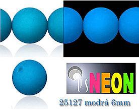 Korálky - Mačkané korálky Neon 25127 MODRÁ 6mm, balenie 12ks - 5078838_