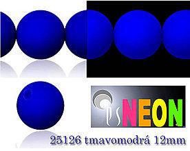 Korálky - Mačkané korálky Neon 25126 TMAVOMODRÁ 12mm, balenie 3ks - 5078883_
