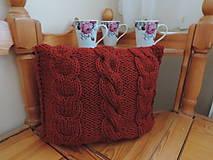 Úžitkový textil - Tehlovočervený vankúšik - 5077355_