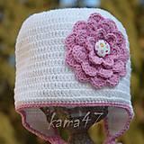 Detské čiapky - Prechodná... biela s kvietkom - 5081811_