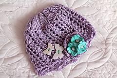 Detské čiapky - jarná fialová čiapka - 5084945_
