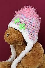 Detské čiapky - ružová ušianka - 5084979_