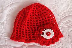 Detské čiapky - jarná - červená s ježkom - 5085035_