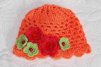 Detské čiapky - oranžová jarná s kvietkami - 5084769_