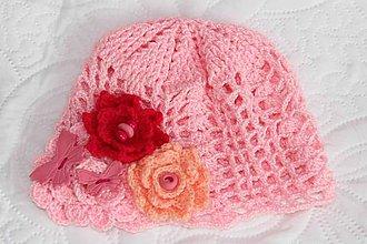Detské čiapky - ružová jarná - 5084915_