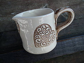 Nádoby - Mliečnik Srdiečko ornament B-H 300 ml - 5090688_