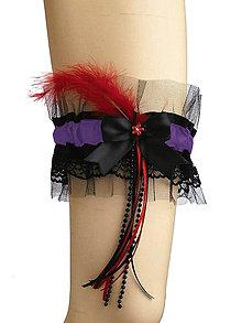 Bielizeň/Plavky - Čierny,červený čipkový podväzok 0500A - 5091079_
