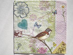 Papier - Servítka malá Vtáčik fialkovo-zelená - 5087317_