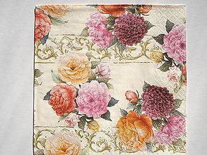 Papier - Servítka Troj ruža so zlatým ornamentom - 5087344_
