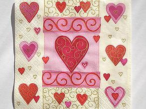 Papier - Servítka Ružovo-zlaté srdcia - 5087524_