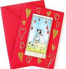 Papiernictvo - Svadobná srdiečková pohľadnica - 5089856_
