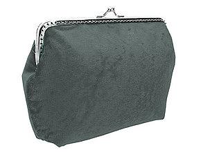 Taštičky - Dámská zamatová kabelka šedá 0470F - 5094182_