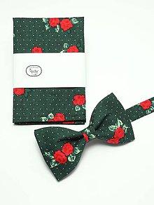 Doplnky - Folkový ružičkovozelený motýlik a vreckovka - 5095402_