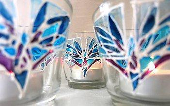 Svietidlá a sviečky - Rozkvitaj - na zimno - maľovaný sklenený svietniček - 5096884_