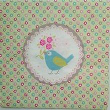 Papier - servítka s vtáčikom malá - 5097157_