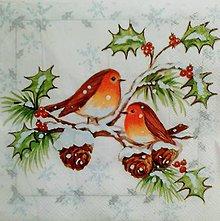 Papier - servítka zimné vtáčiky - 5097162_