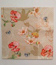 Papier - servítka vintage s kvetmi malá - 5097264_