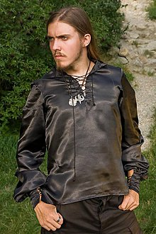 Oblečenie - Saténová košeľa čierna - p - 5102765_