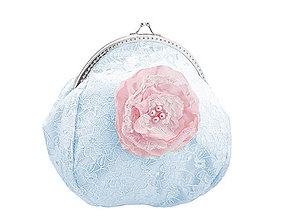 Taštičky - Svadobná kabelka čipková modrá, kabelka pre nevestu 1495B5 - 5103497_