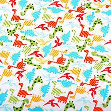 Textil - Walk the dinosaur (white), š. 145cm - 5103418_