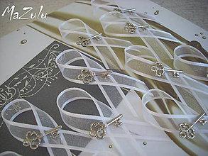 Pierka - svadobné pierko s kľúčikom šťastia/biele/ - 5102165_