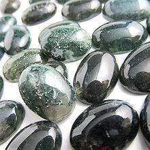 Minerály - Machový achát-tmavý  / kabošon 13x18mm - 5102943_