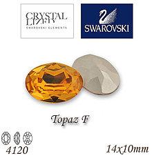 Korálky - SWAROVSKI® ELEMENTS 4120 Oval Rhinestone - Topaz F, 14x10, bal.1ks - 5105045_