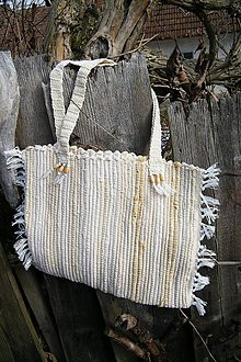 Kabelky - Tkaná béžová taška - 5104686_