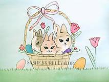 Papiernictvo - Veľkonočné zajačiky v košíčku - 5101910_