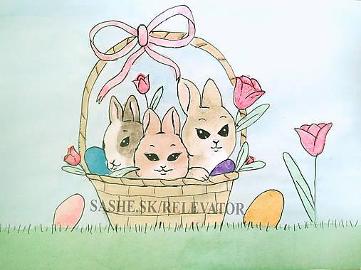 Veľkonočné zajačiky v košíčku