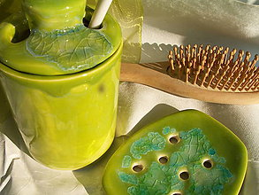 """Nádoby - mydelnička zelená ....""""už sa topí, ostali len fliačky :o)))."""" - 5106567_"""