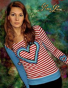Tričká - Pásikavé tričko so srdcom - Clownheart - 5105805_