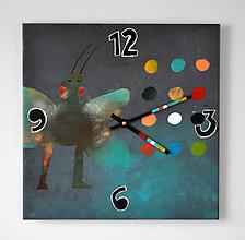 Hodiny - Keramické hodiny 33x33cm - Motýl I - 5105571_