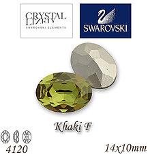 Korálky - SWAROVSKI® ELEMENTS 4120 Oval Rhinestone - Khaki F, 14x10, bal.1ks - 5105359_