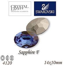 Korálky - SWAROVSKI® ELEMENTS 4120 Oval Rhinestone - Sapphire F, 14x10, bal.1ks - 5105390_