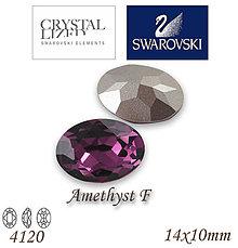 Korálky - SWAROVSKI® ELEMENTS 4120 Oval Rhinestone - Amethyst F, 14x10, bal.1ks - 5105398_
