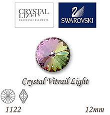 Korálky - SWAROVSKI® ELEMENTS 1122 Rivoli - Crystal Vitrail Light, 12mm, bal.1ks - 5109383_