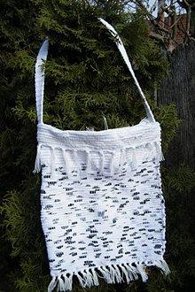 Kabelky - Tkaná taška bielo-čierna - 5108542_