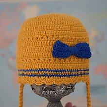Detské čiapky - Prechodná čiapočka... horčica s mašličkou - 5112550_
