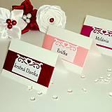 Svadobné menovky na stôl - rôzne farby