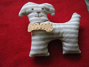 Hračky - Psíček s kosťou- bavlnená hračka - 5111836_