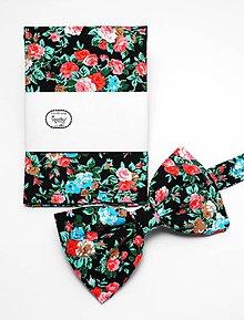 Doplnky - Motýlik a vreckovka Zimná záhrada - 5109612_