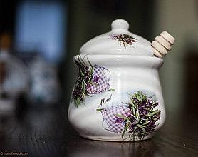 Nádoby - Nádoba na med s vrtieľkom 600ml - levanduľa - 5111231_